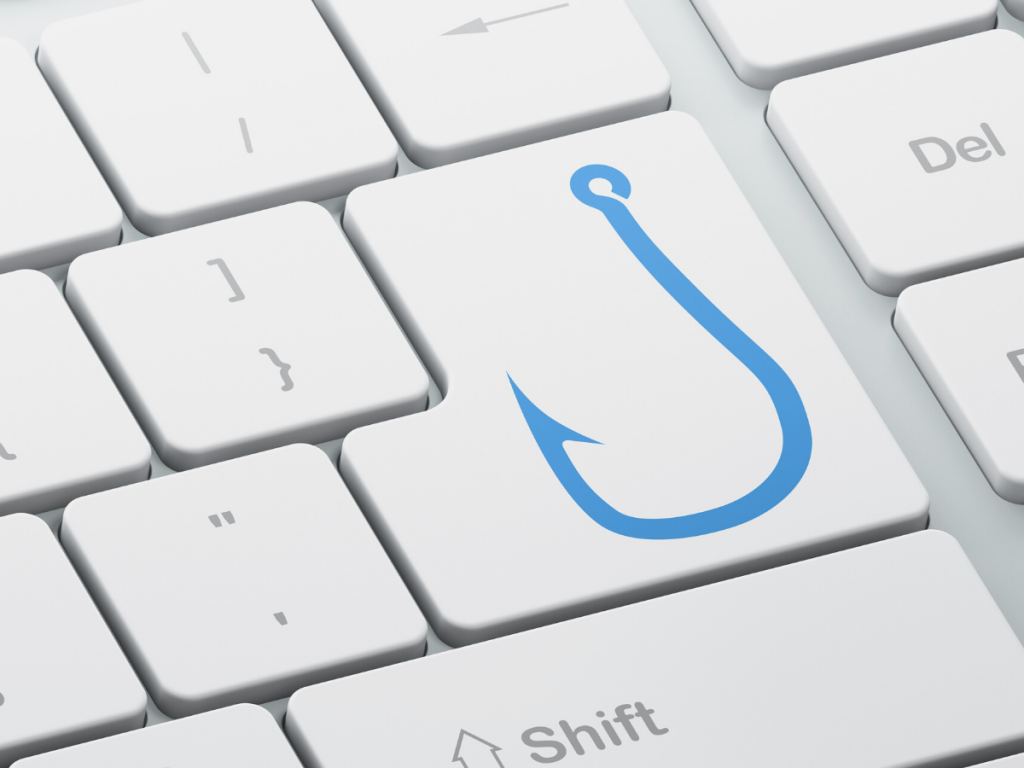 A hook icon on the white keyboard to explain video marketing hook