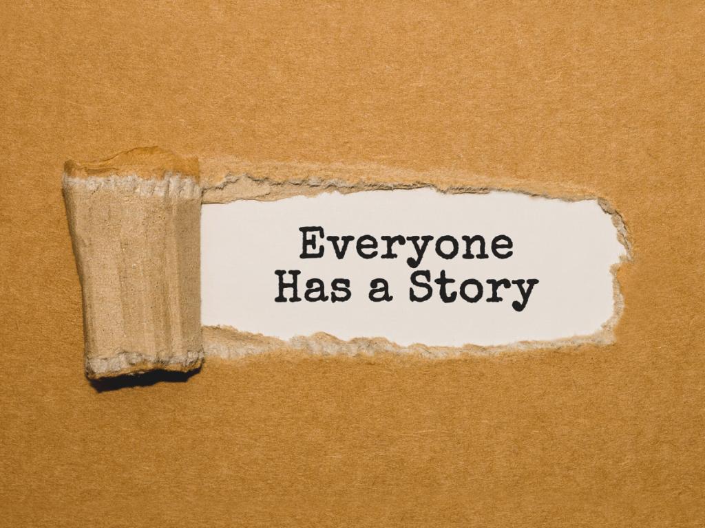 'everyone has a story' writing in a tornado carton