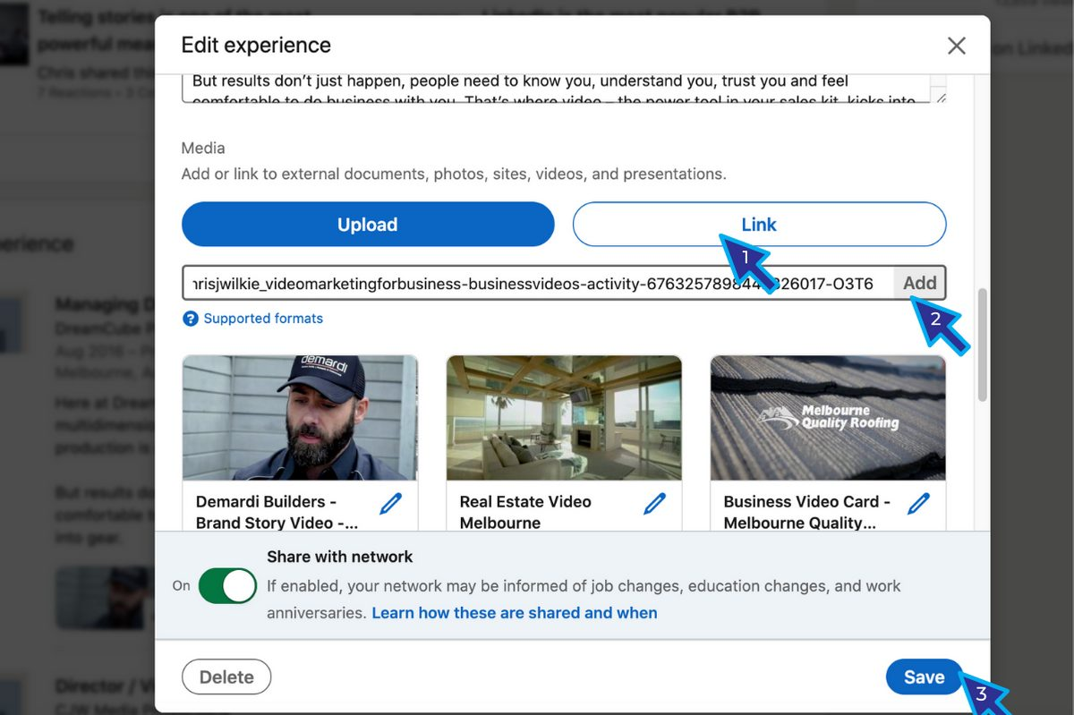 How to Embed Videos into LinkedIn Experience Section3